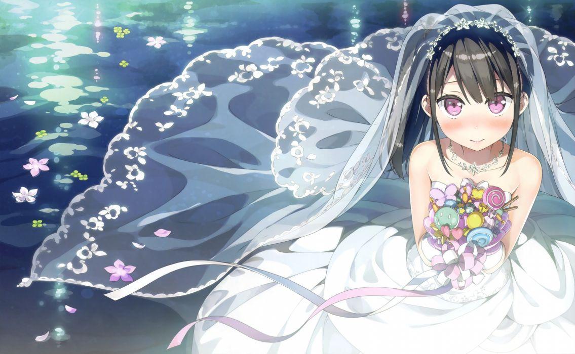 Konachan com - 247273 black hair dress flowers kantoku long hair necklace petals photoshop pink eyes ponytail ribbons scan short hair wedding attire wallpaper