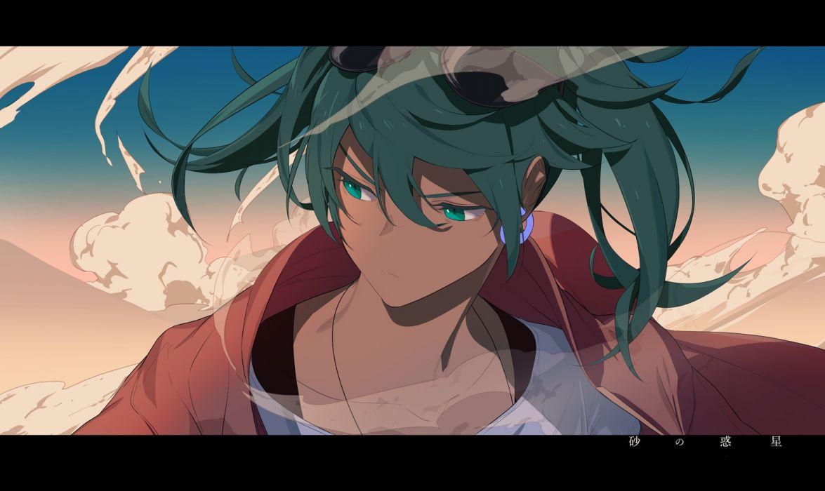 Konachan com - 247283 green eyes green hair hatsune miku ryokucha (i cobalt) suna no wakusei (vocaloid) sunglasses twintails vocaloid wallpaper