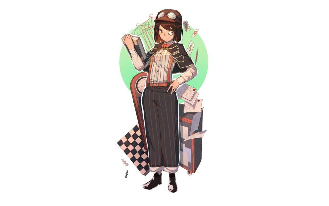 Konachan com - 247180 bow brown eyes brown hair cape goggles hat lanzi original paper short hair white wallpaper