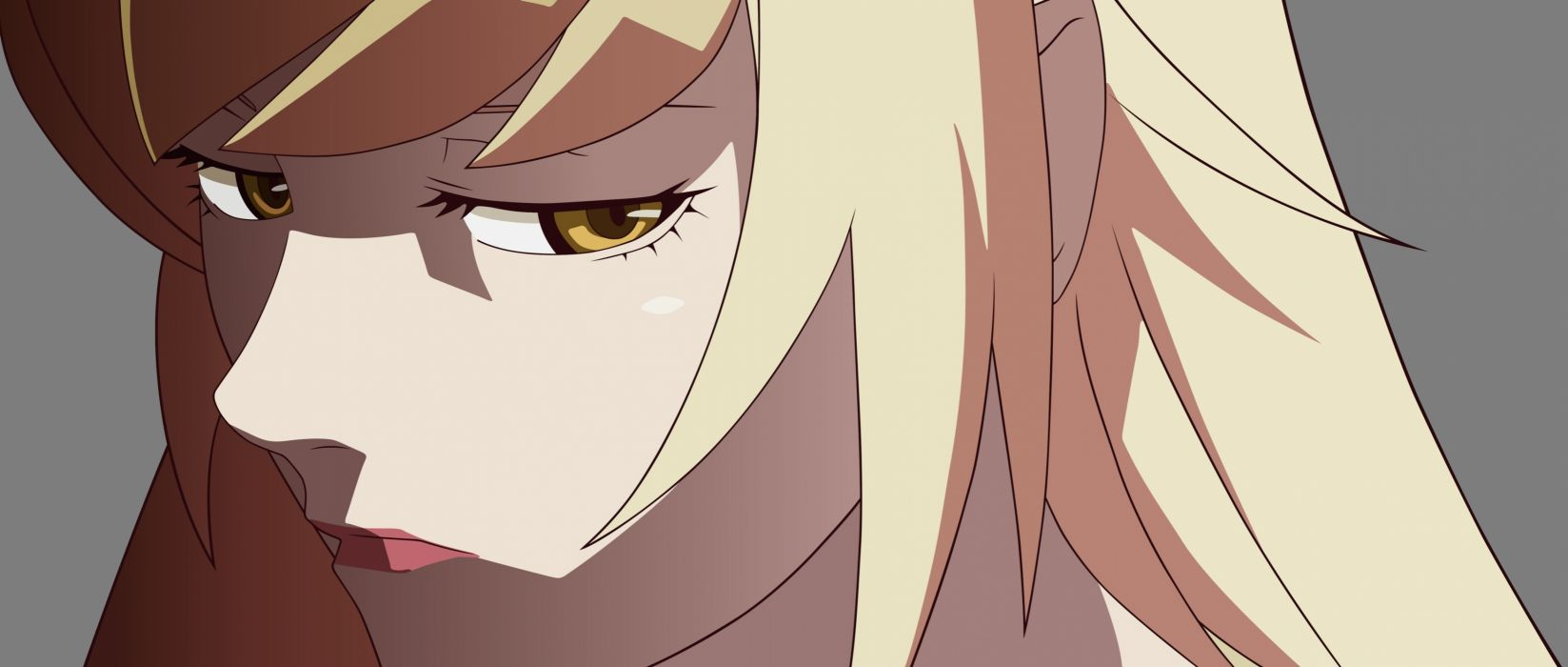 Konachan com - 246964 blonde hair close kissshot acerolaorion heartunderblade kizumonogatari monogatari (series) oshino shinobu transparent vector yellow eyes wallpaper