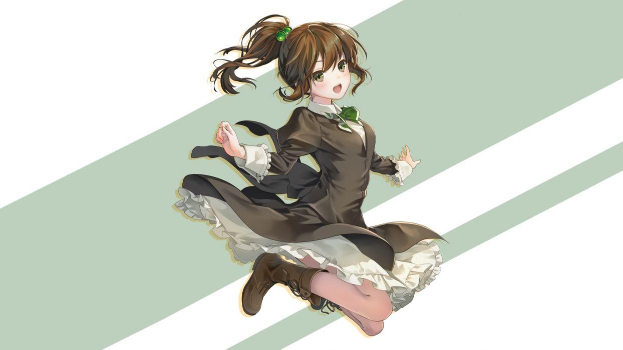 Konachan com - 247102 blush boots bow brown hair dress geroro green eyes long hair original photoshop ponytail wallpaper