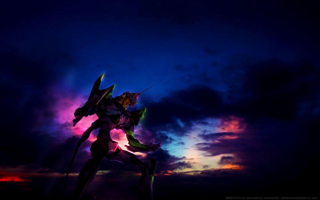 Konachan com - 246709 clouds dark eva-01 mecha neon genesis evangelion sky watermark wallpaper