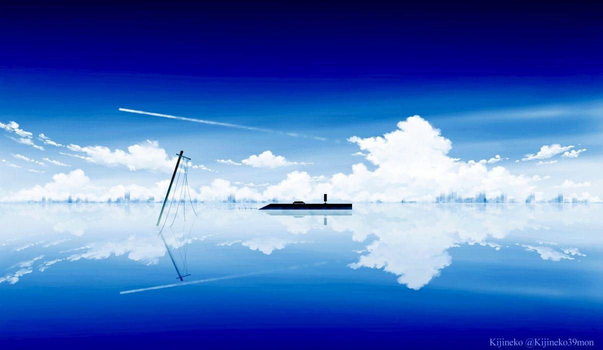Konachan com - 246176 clouds kijineko nobody original reflection scenic silhouette sky watermark wallpaper