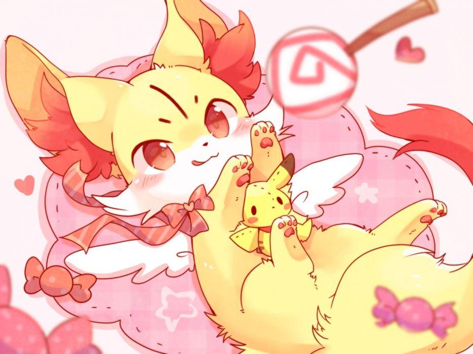 Konachan com - 246272 animal blush bow candy doll fennekin fox heart lollipop pikachu pokemon red eyes ribbons ushiinu waifu2x wallpaper