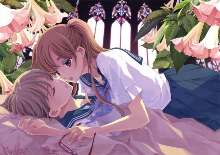 Konachan com - 246445 2girls bed flowers glasses hibiki reine ponytail purple eyes seifuku sleeping yuri wallpaper