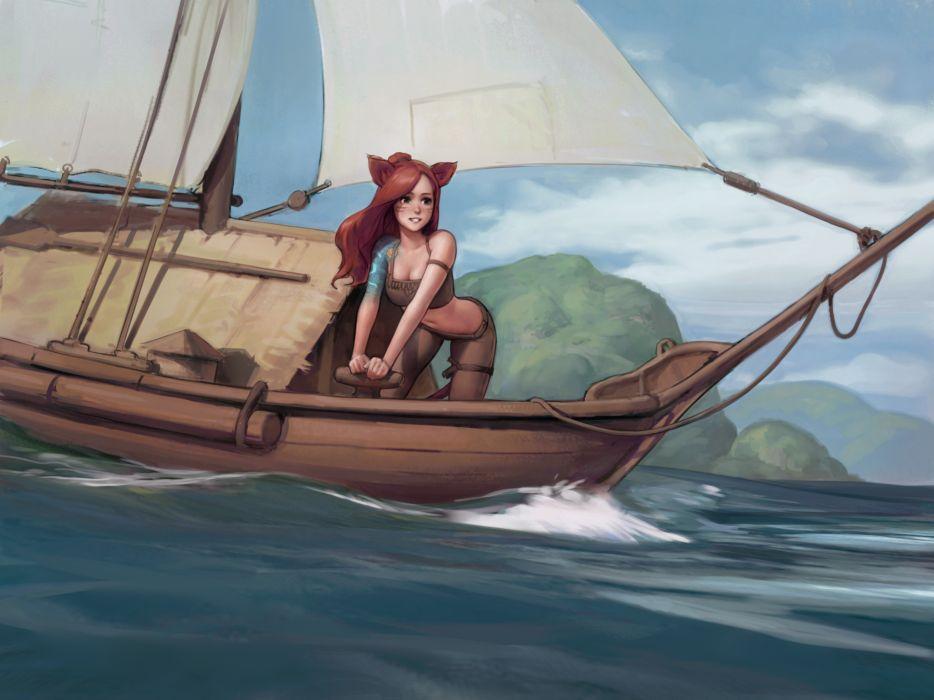 Konachan com - 246591 animal ears boat catgirl final fantasy final fantasy xiv jeff macanoli miqo'te wallpaper
