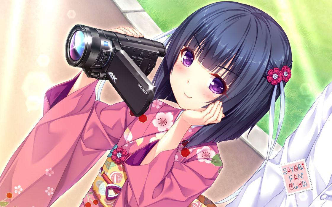 Konachan com - 246083 black hair blush camera japanese clothes kimono minazuki shigure nekopara purple eyes ribbons sayori short hair watermark wallpaper