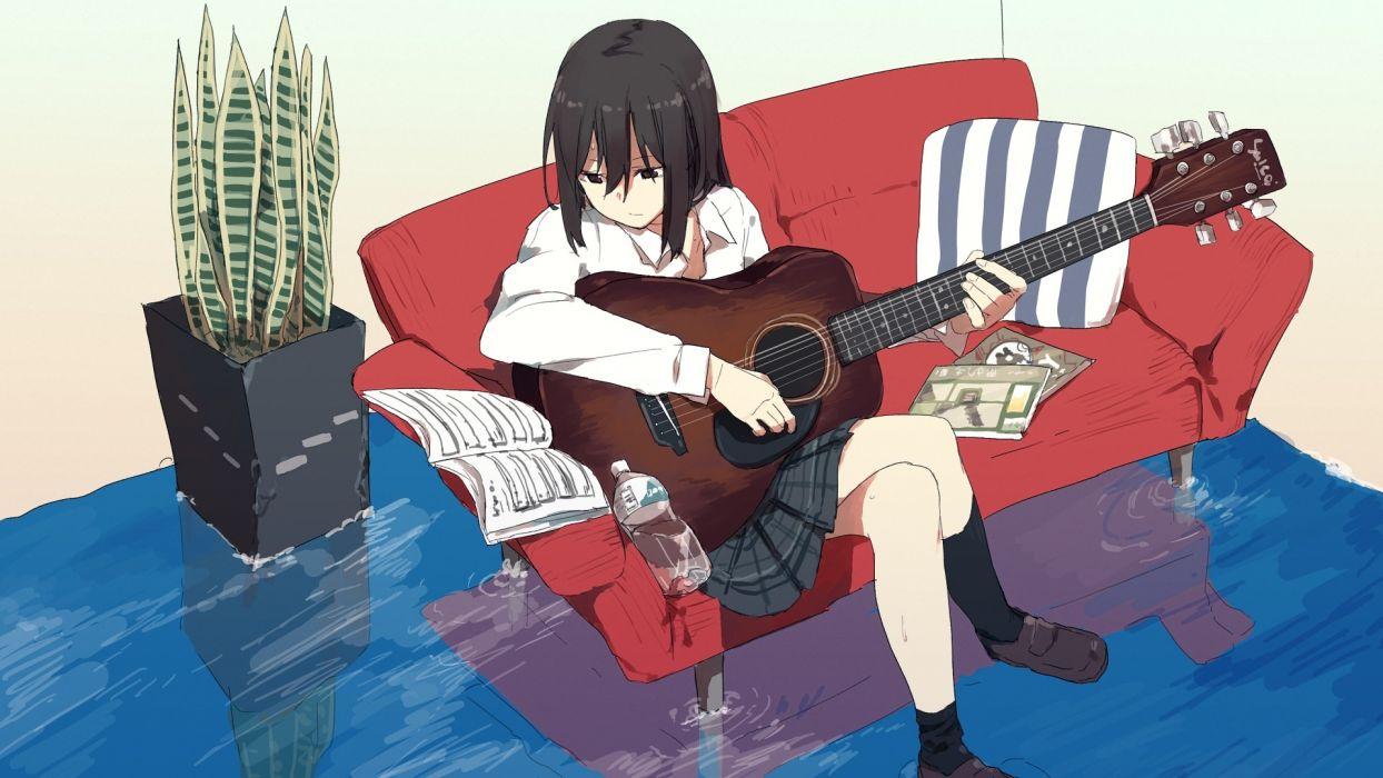 Konachan com - 245374 aliasing book couch drink guitar hitomai instrument kneehighs original seifuku shirt wallpaper