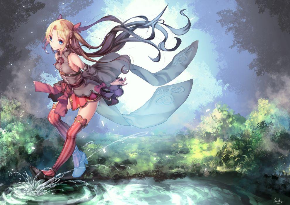 Konachan com - 245483 aqua eyes blonde hair dress long hair original ribbons saraki signed thighhighs water wallpaper