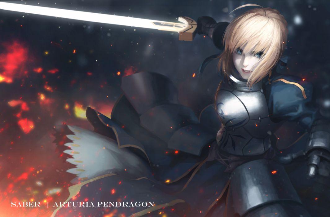 Konachan com - 245646 armor blonde hair blue eyes dress fate (series) fate stay night gloves saber sai foubalana short hair sword weapon wallpaper