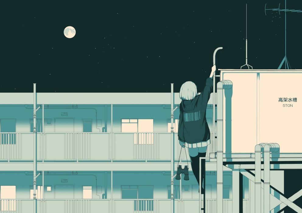 Konachan com - 245960 building komaccho monochrome moon night original rooftop skirt thighhighs wallpaper