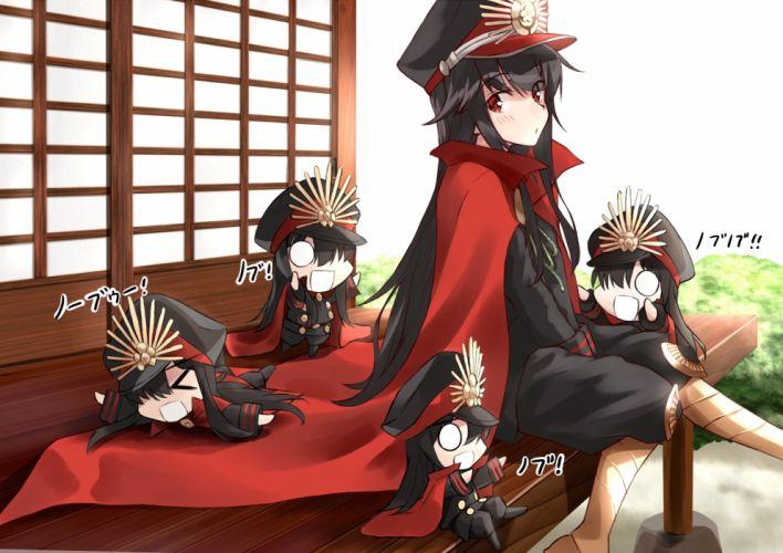 Konachan com - 244908 black hair blush boots cape fate grand order fate (series) hat headdress long hair nobunaga oda (fate) red eyes shunichi wallpaper