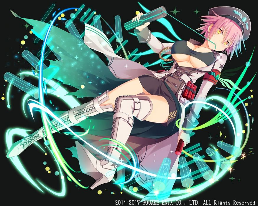 Konachan com - 245252 boots dark hat kaku-san-sei million arthur natsume kintoki pink hair short hair skirt square enix yellow eyes wallpaper