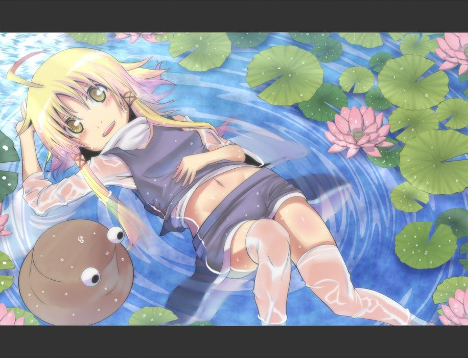 Konachan com - 243493 blonde hair blush hat irie (masaki) long hair moriya suwako navel see through skirt touhou water wet yellow eyes wallpaper