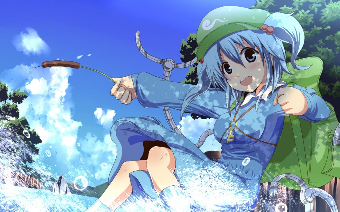 Konachan com - 243496 aqua eyes aqua hair blush breasts clouds dress hat irie (masaki) kawashiro nitori kneehighs short hair sky touhou water wallpaper