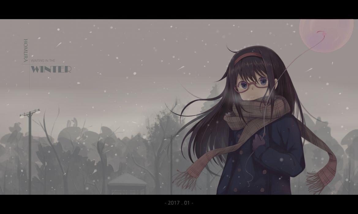 Konachan com - 243848 akemi homura black hair glasses gray eyes hzyang long hair mahou shoujo madoka magica scarf wallpaper