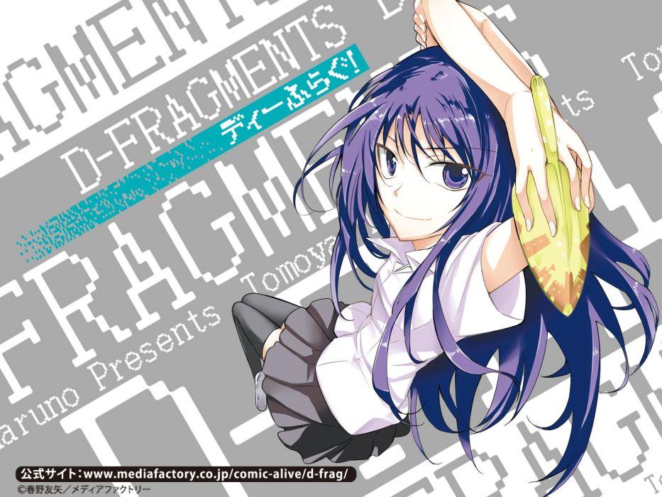 Konachan com - 242876 d-fragments haruno tomoya karasuyama chitose long hair purple eyes purple hair seifuku skirt thighhighs wallpaper