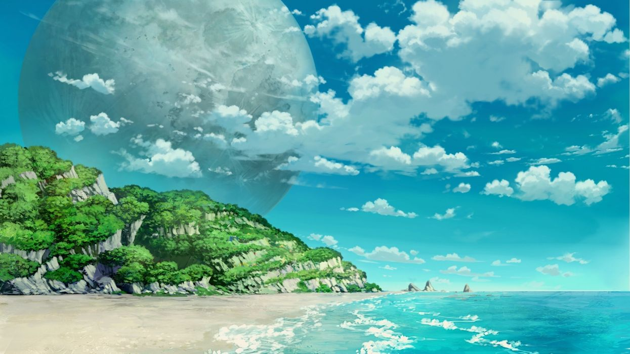 Konachan com - 243129 beach clouds mitsu ura nobody original planet scenic sky water wallpaper