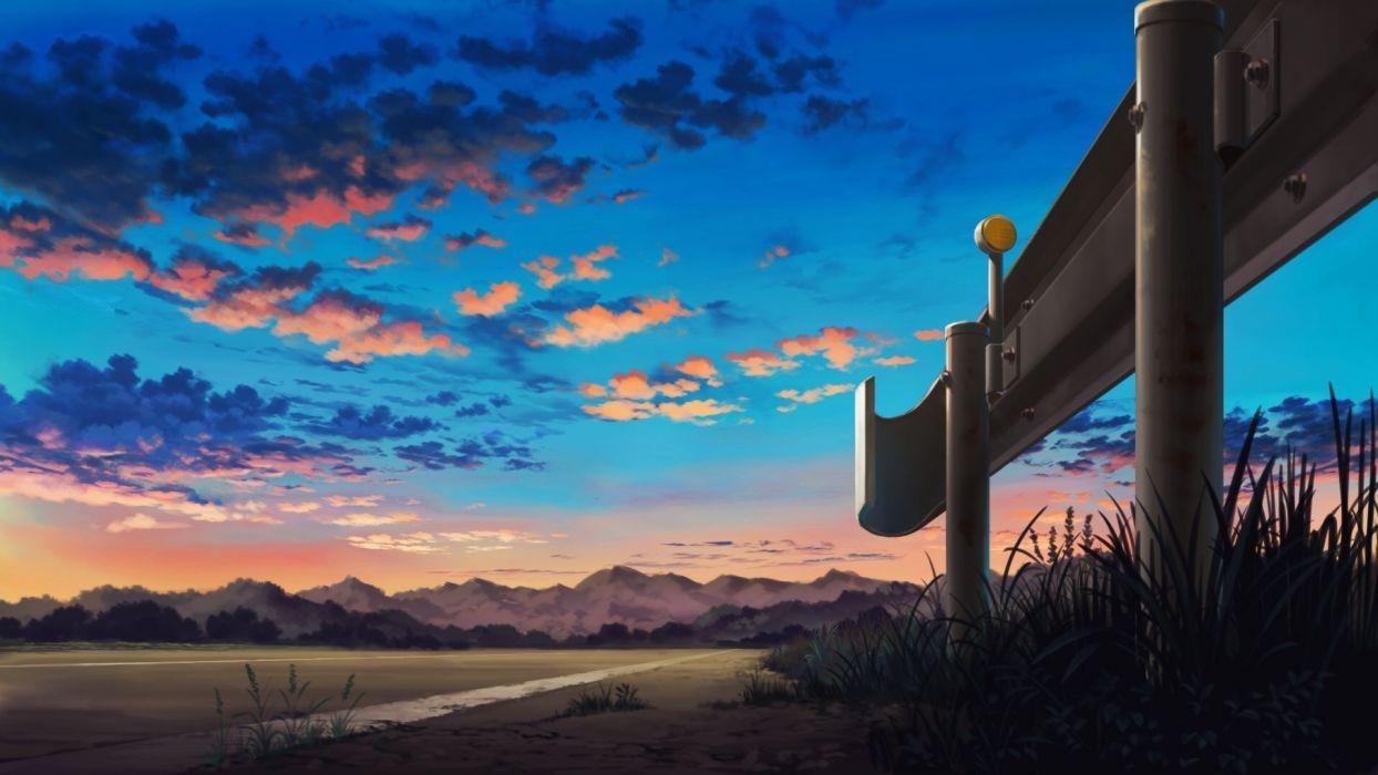Konachan com - 243130 clouds grass mitsu ura nobody original scenic sky wallpaper