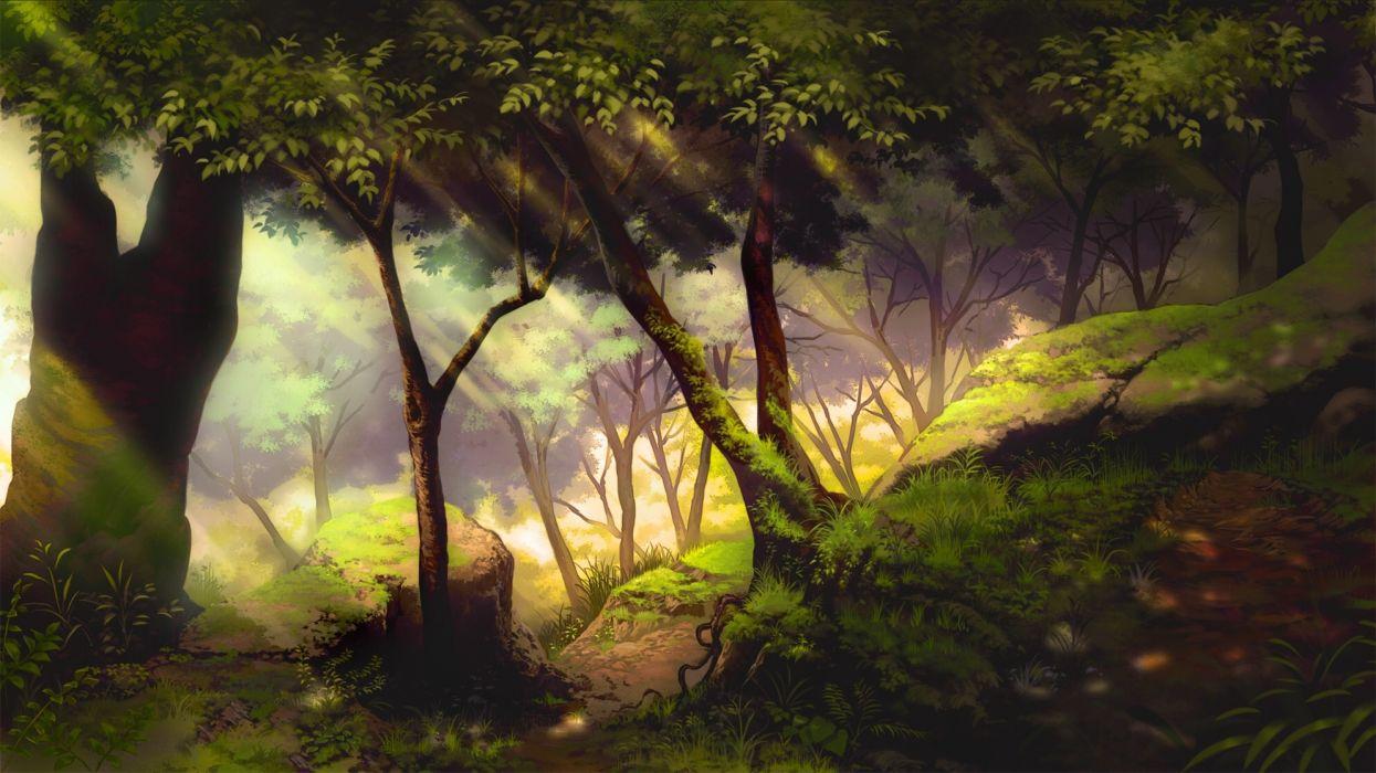 Konachan com - 243134 forest grass mitsu ura nobody original scenic tree wallpaper