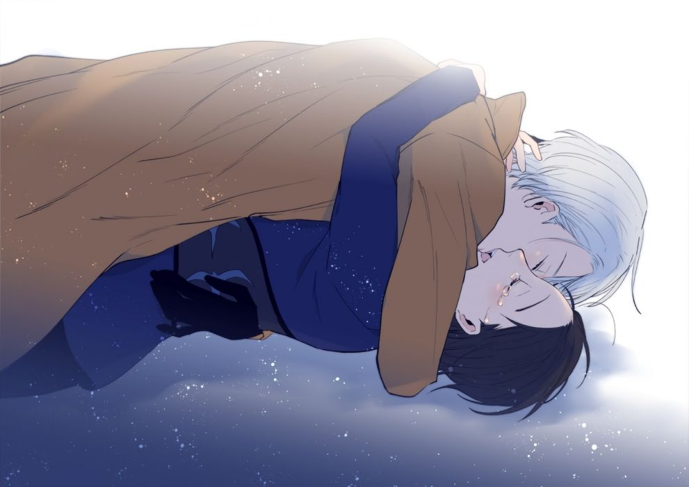 Konachan com - 243294 all male black hair gloves ichi kotoko katsuki yuuri kiss male shounen ai tears victor nikiforov waifu2x white hair yuri!!! on ice wallpaper