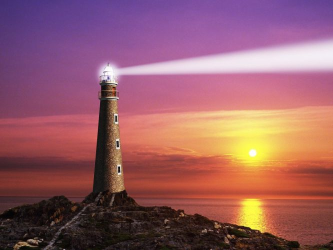 Lighthouse light sea ocean building nature seascape wallpaper