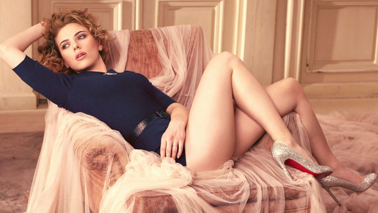 Sensuality sensual sexy girl woman model legs kness thigh curly-hair high-heels actress stretching celebrity chair Scarlett-Johansson wallpaper