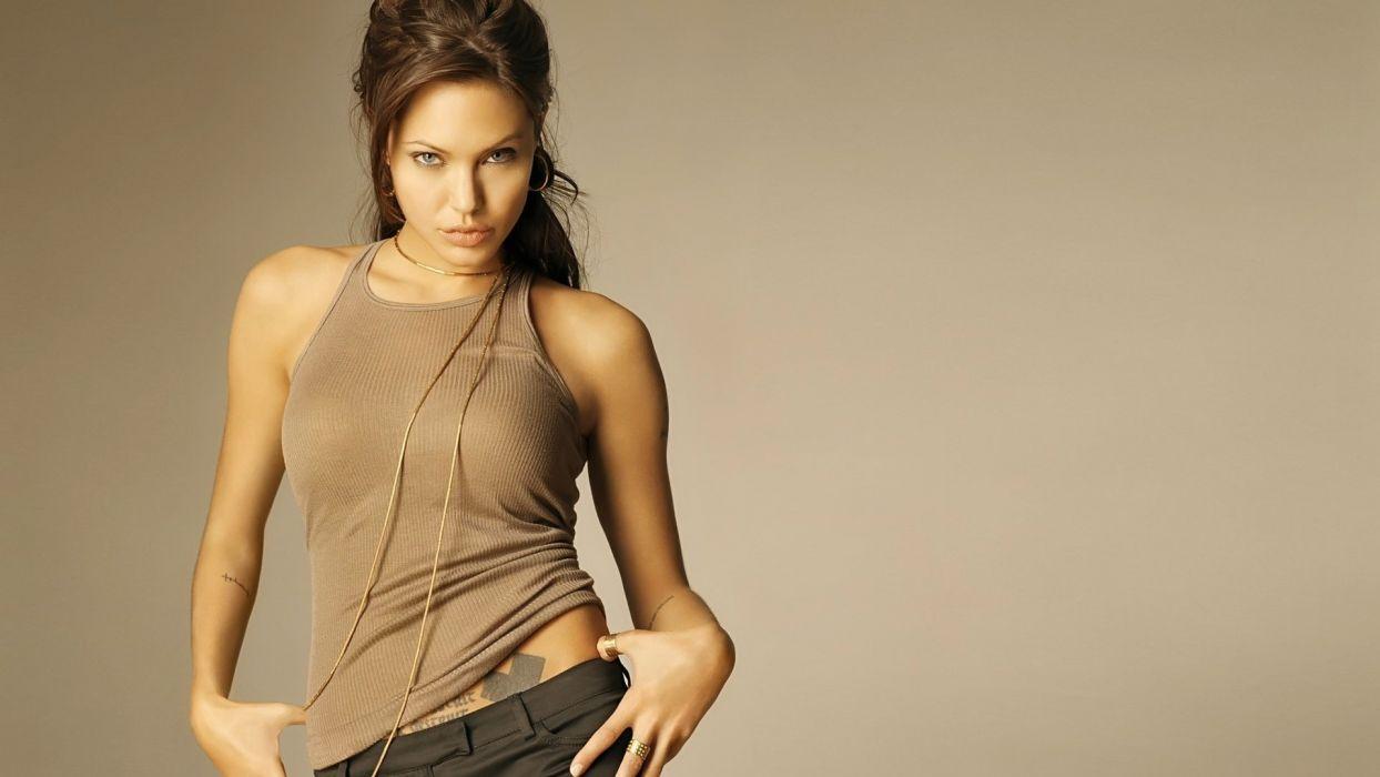 Sensuality sensual sexy girl woman model tattoo Angelina-Jolie tank-top actress shoulders lips pose wallpaper