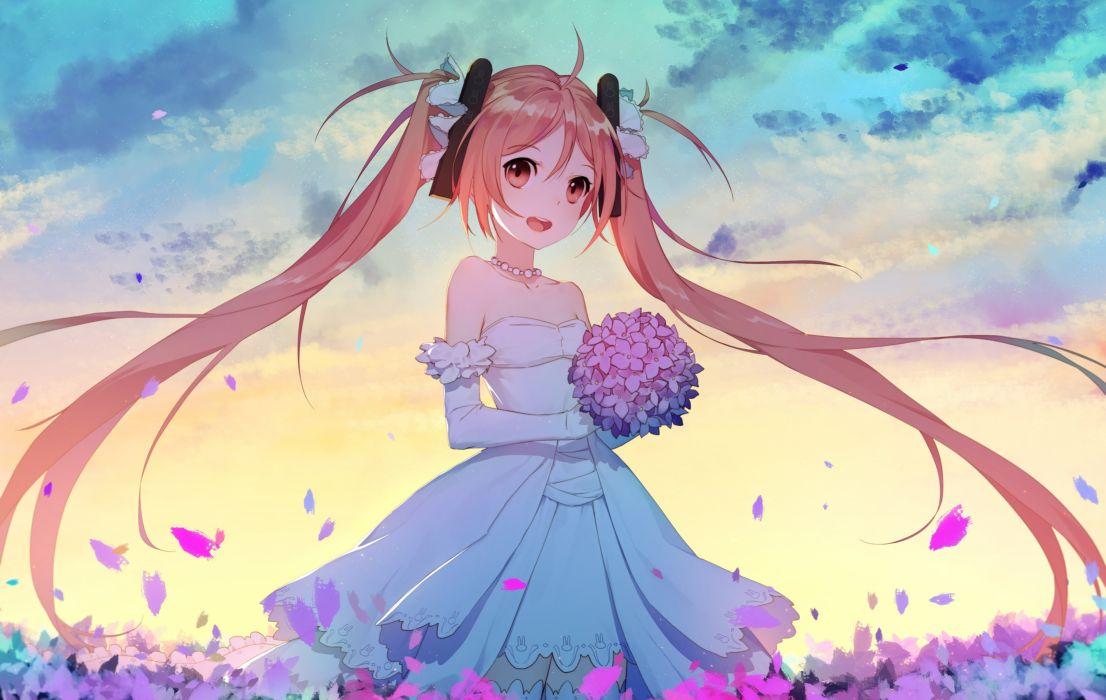 Konachan com - 241981 aihara enju black bullet clouds dress elbow gloves flowers gloves long hair necklace orange eyes orange hair petals sky thighhighs twintails wallpaper