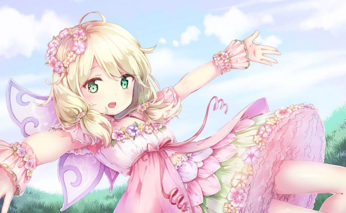 Konachan com - 242043 blonde hair clouds dress grass green eyes idolmaster idolmaster cinderella girls loli ribbons short hair sky todo-akira twintails wings yusa kozue wallpaper
