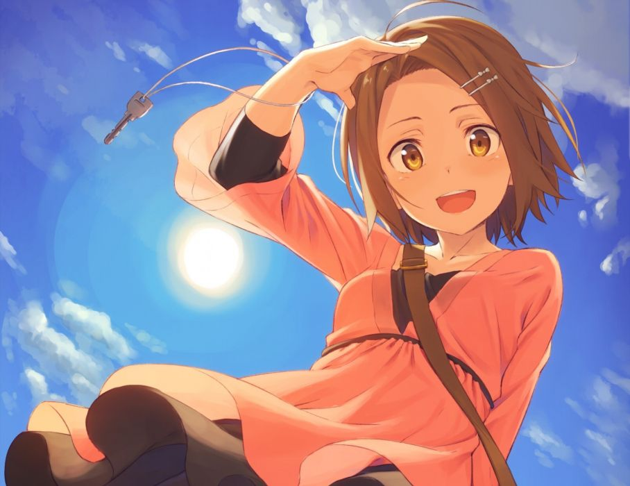 Konachan com - 242070 brown eyes brown hair clouds dress kinta (distortion) original short hair sky waifu2x wallpaper