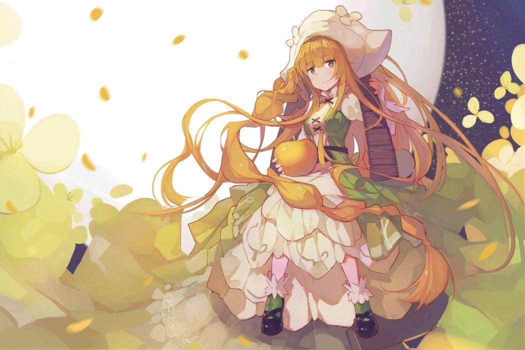 Konachan com - 242073 blonde hair dress hat long hair petals yellow eyes yong mei-uta wallpaper
