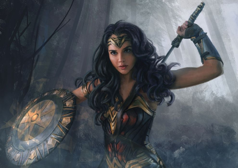 Painting Art Wonder Woman hero Wonder Woman (2017 film) Warriors Gal Gadot Shield Beautiful Brunette girl Movies Girls wallpaper