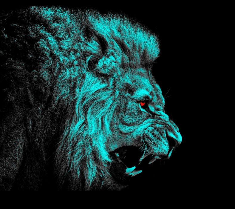 Big cats Lions Painting Art Canine tooth fangs Head Roar Black background Animals wallpaper