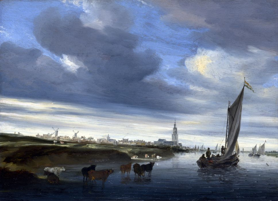 Pictorial art Boats Sailing Cow Salomon van Ruysdael A View of Rhenen seen from the West wallpaper
