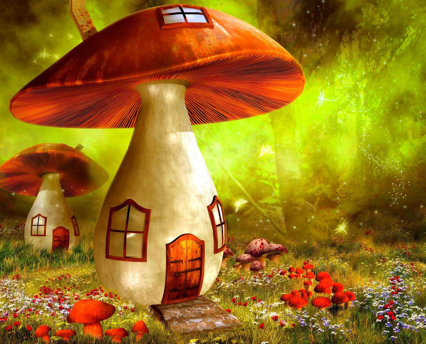 гриб домик картинки фэнтези сможете прогуляться