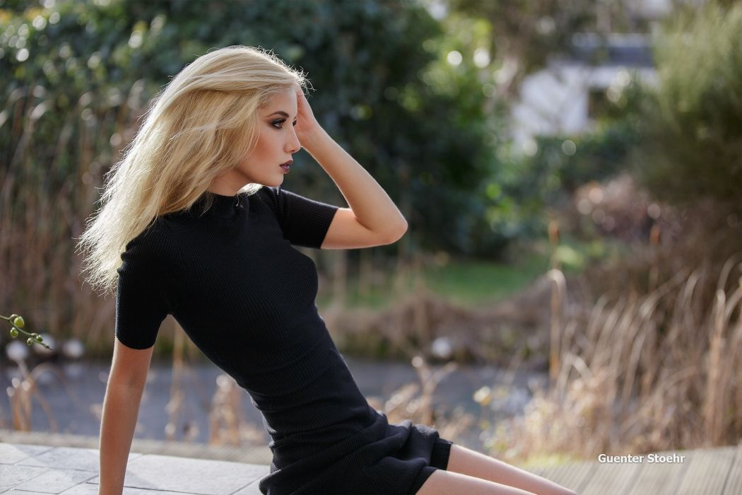 Photography sensuality sensual sexy girl woman model Marina-Nelson blonde sitting black-dress portrait nature wallpaper