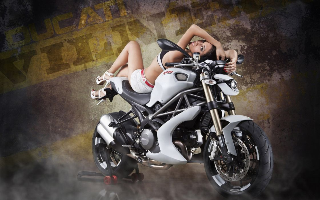 Machine sensuality sensual sexy girl woman model motorcycles bike legs knees lying jean-shorts denim tight-clothing tight-shorts top ducati wallpaper