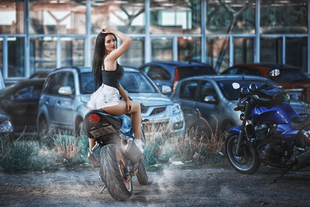 Machine sensuality sensual sexy girl woman model motorcycles bike legs knees sitting jean-shorts denim torn car sneakers wallpaper