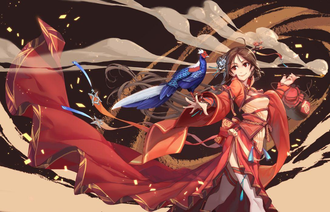 Konachan com - 241464 animal bird brown hair chinese clothes long hair original splish wallpaper