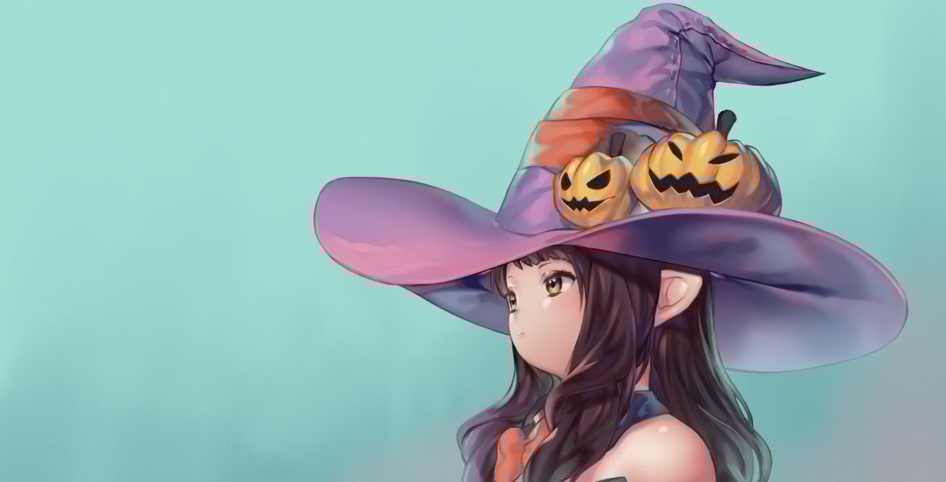 Konachan com - 241197 brown eyes brown hair cyan final fantasy final fantasy xiv gradient halloween hat laejjo loli long hair pointed ears witch hat wallpaper