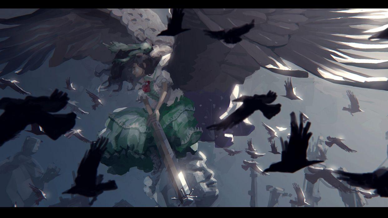 Konachan com - 241202 animal bird brown hair dress nenenoa reiuji utsuho touhou weapon wings wallpaper