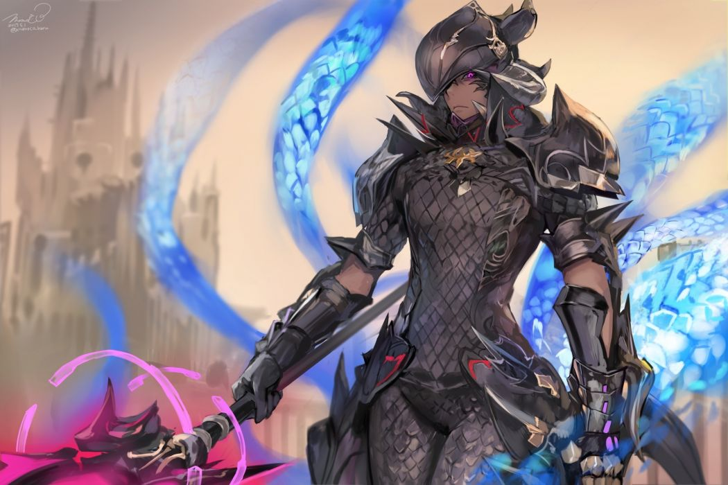 Konachan com - 241242 all male armor au ra bodysuit dark skin final fantasy final fantasy xiv gloves headdress horns magic male momoko (momopoco) purple eyes signed staff wallpaper