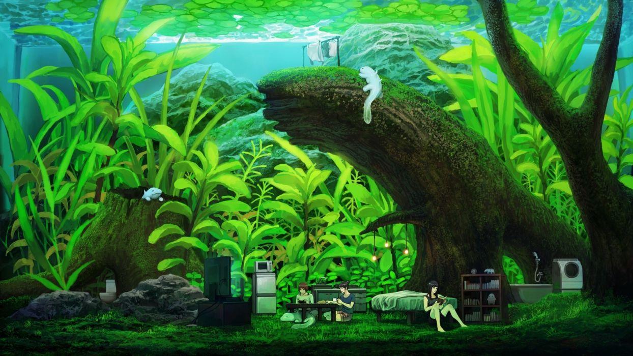 Konachan com - 241272 animal barefoot bed black hair book brown hair green group kakotomirai (harvester) long hair original short hair shorts underwater water wallpaper
