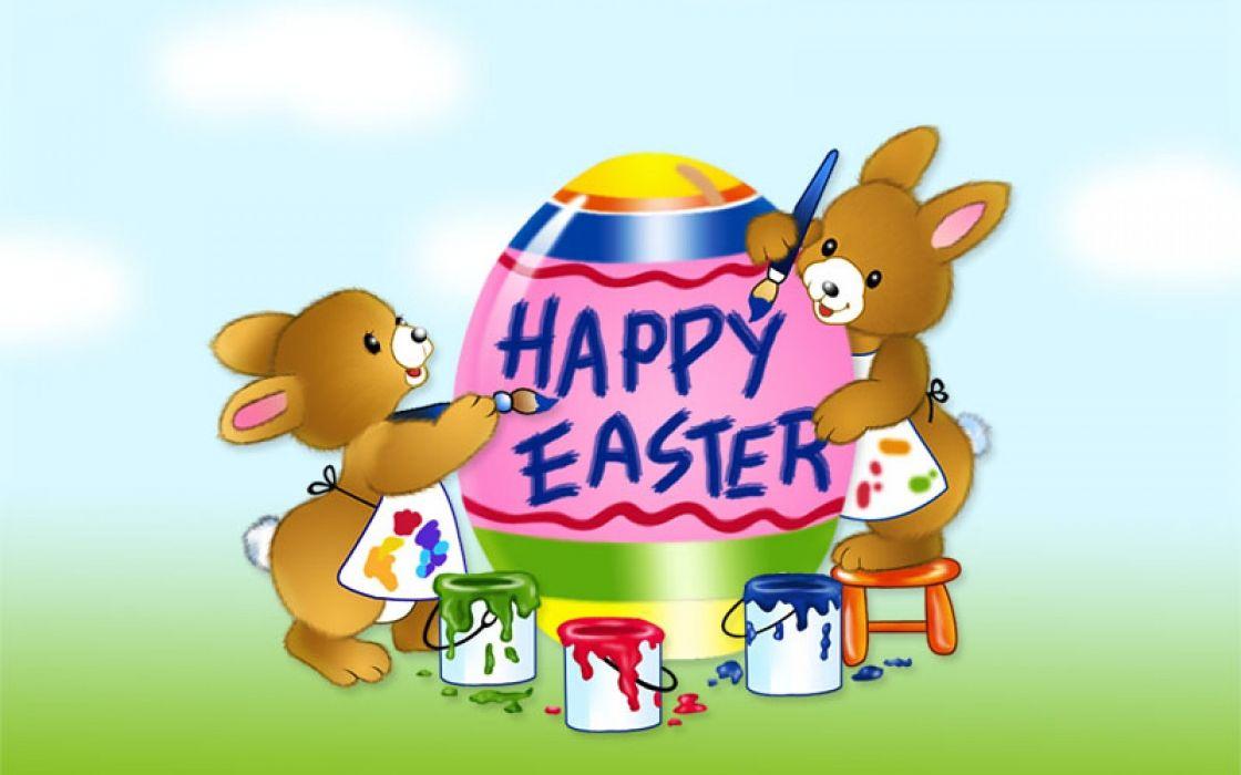 conejos pintando huevos pascua wallpaper