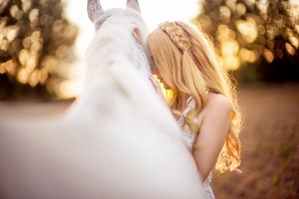 blonde Girl And White Horse long hair animal woman wallpaper