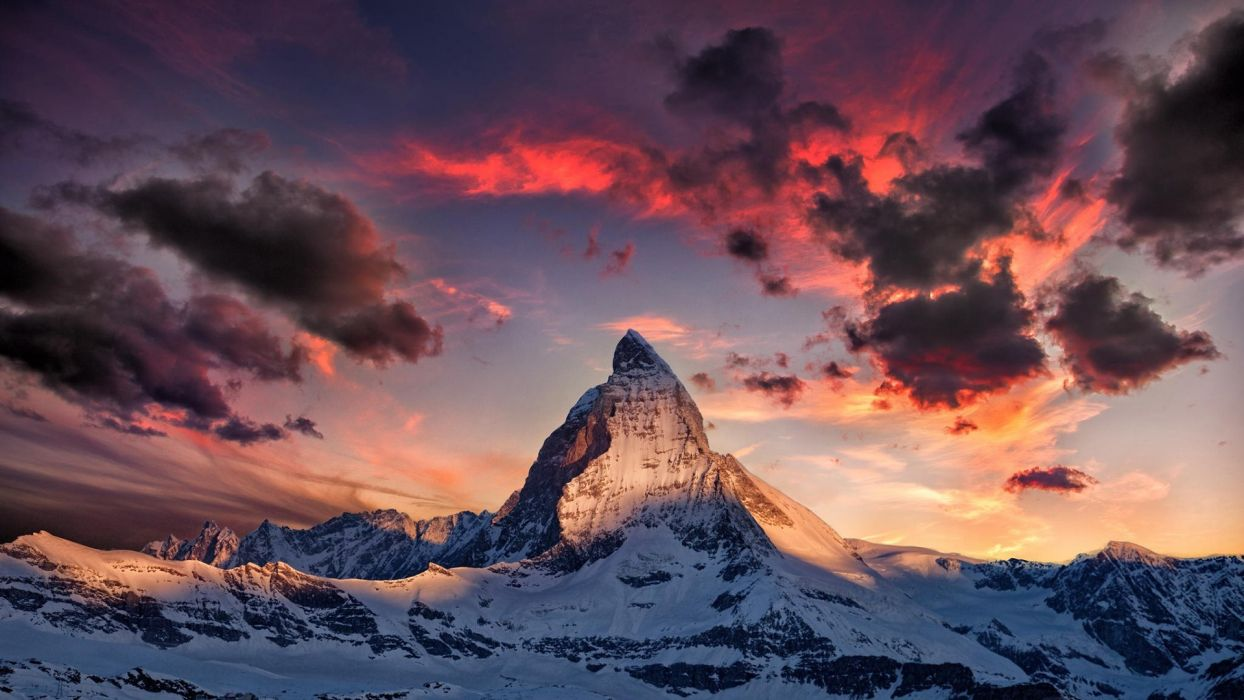 Mountains Alps nature sky clouds wallpaper