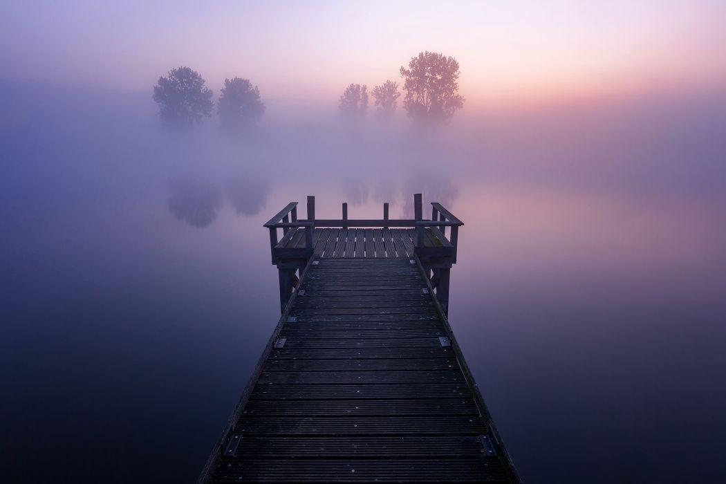 Pier Fog Nature Trees Reflection On Lake wallpaper