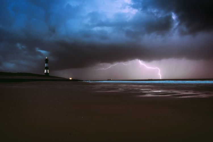 Lighthouse Lightning Sea Ocean Beach Weather nature wallpaper