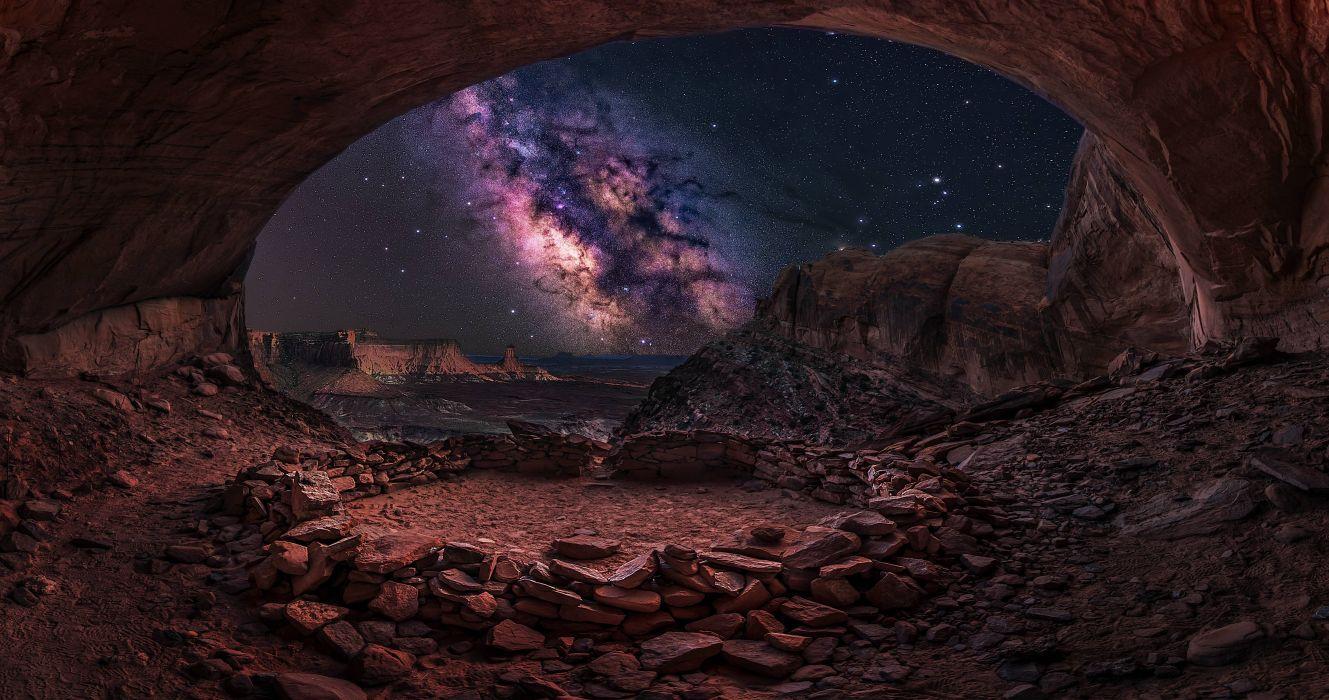 Cave amazing beauty stars sky night nature wallpaper